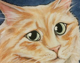Custom Pet Portrait Painting 6x6 Hand painted, cat, dog, pet memorial, gift, holiday idea