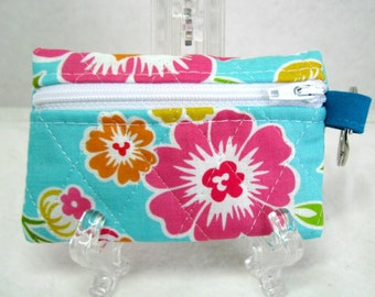 Quilted Coin Purse - Floral Hawaiian Flowers - Change Purse - Small Tropical Flower Zippered Pouch - Ear Bud Case