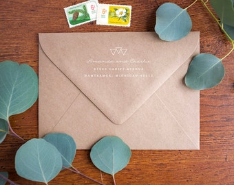 Return Address Stamp - Rubber Stamp with Wooden Handle - Mod