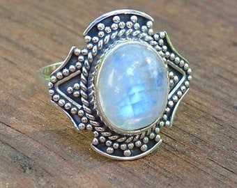 Designer Ring Ranibow Moonstone Gemstone 925 Sterling Pure Silver AAA Quality Engagement Ring
