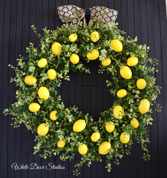 Farmhouse Lemons and Greenery Wreath for Front Door or Kitchen
