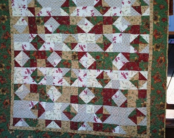 Handmade Quilt Traditional Triangles Cranberry Green Gold Beige