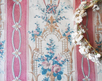 1800s Antique Fabric French Faded  Historical Piece Antique 1800s