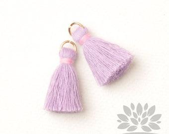 T002-CO-VP // Pastel Violet, Pastel Pink Cotton Tassel Pendant, 4pcs, 23mm