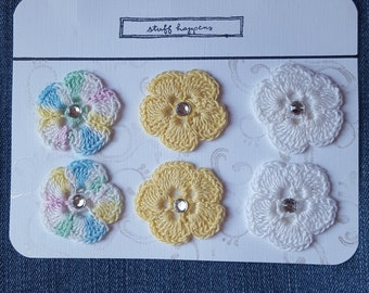 Hand Crocheted Flower Embellishments - Rhinestones