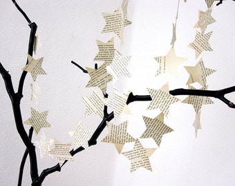 Star garland made of vintage paper garland, Wedding Garland, Wedding Decoration, Paper Decoration, Christmas Decoration by renna deluxe