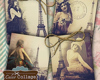 Paris Collage Sheet, Showgirl Images, 4x5 Images, Collage Sheet, Burlesque Images, French Image Sheet, Printable Download, Large Tags