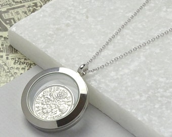 Sixpence Glass Locket Necklace 1954-1967 Birthday, Anniversary Or Good Luck Charm
