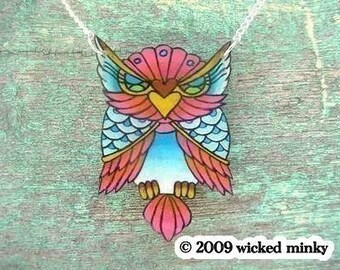 big vintage tattoo lucky pink and blue owl necklace traditional tattoo inspired silver plated chain
