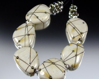 Modern Ivory - Stone Pressed Lampwork Beads by That Bead Girl