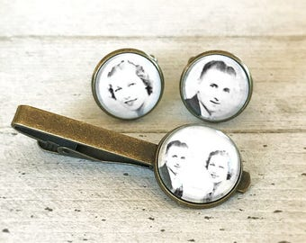 Tie Clip and Cufflinks Set, Personalized Gift for Groom, Custom Photo Tie Clip, Wedding Cuff links, Personalized Gift, Wedding Keepsake Set