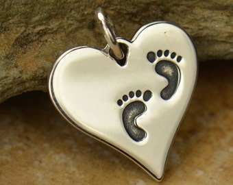 Footprints Heart New Mom Necklace / Baby Feet 925 Sterling Silver Charm Pendant / Mummy Mommy Jewellery 1407