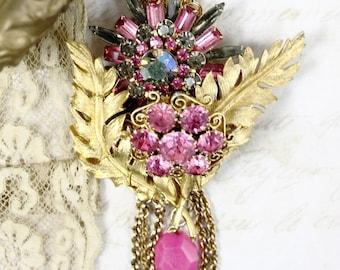 Vintage Assemblage Collage Necklace, Pink Gold and Grey Collage Necklace, Collage Statement Necklace, Hand Wired Assemblage Pendant Necklace