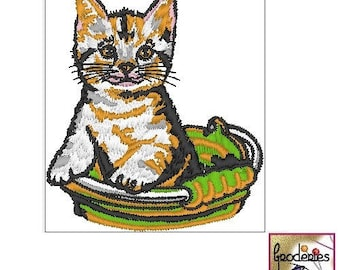 Embroidery: embroidery file format: kitten in her basket