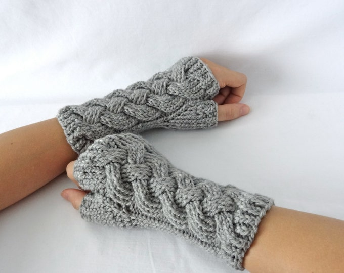 """Gray Cable Knit Merino Fingerless Gloves """"Knotted Up"""""""
