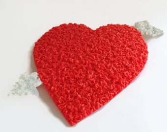 Vintage Valentine Wall Decor - Plastic Popcorn - Melted Plastic - Heart - Valentines Gift - Retro 1970's - Heart Decoration - Made in USA