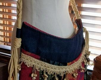 Upcycled Tapestry/Denim Bohemian Crossbody Bag