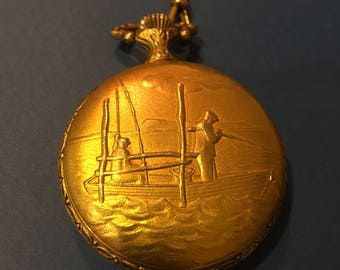 Vintage Majestime Pocket Watch Boat Scene