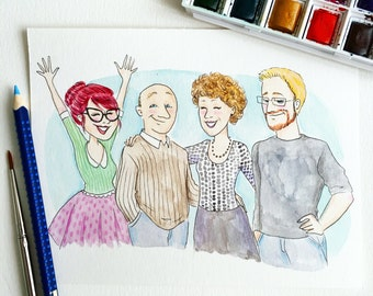 Watercolor and pencil couple portrait - illustration