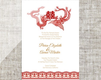DIY Printable/Editable Chinese Wedding Invitation Card Template Instant Download_Red Dragon & Phoenix Traditional婚禮喜帖 喜喜Double Happiness