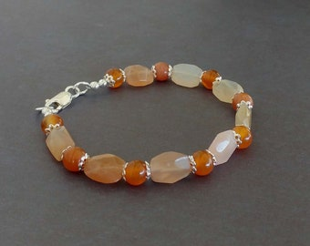 Red, Orange, Yellow Agate Gemstone Bracelet with Sterling Silver Accents and Lobster Claw Clasp
