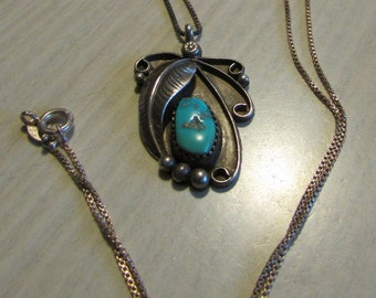Navajo Sterling Silver and Turquoise Pendant and Chain  Signed ST