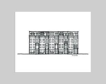 Boston Row House Print