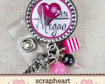 Cardiac Nurse RN Personalized Name Badge Reel, Cute Hot Pink Heart Design Nurse Name Badge, Personalized Hospital Staff Gift, RN Graduation