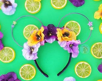 Violet Lemonade Floral Crown Mouse Ears by Le Petit Mouse