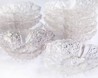 Vintage Crystal Dishes Clover Shaped ~ Table Setting Decor for Wedding, Engagement, Bridal, Party Hostess ~ Vintage Wedding