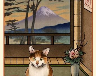 Calico Cat Japanese Styled Print
