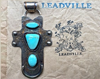 Turquoise Cross / Turquoise Pendant / Silver Cross / Handmade jewelry / Cross Pendant