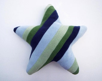 Recycled Fleece Striped Star Pillow - Blue and Green