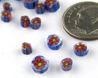 Handmade Lampwork Murrine Blue/Red Daisy 104 COE Murrini slices 15 - R