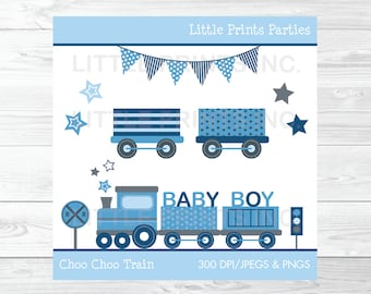 Choo Choo Train Clipart Baby Blue Train PERSONAL USE Instant Download A252