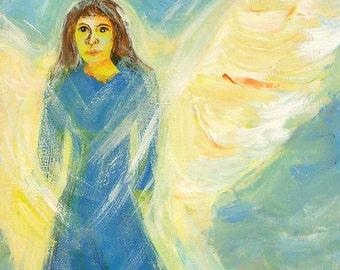 Angel painting on repurposed wood, original angel art
