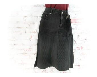 Denim skirt, Designer skirt, Black skirt, upcycled denim skirt, Size Jr L skirt,    # 7