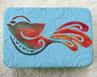Tie Dyed Bird Polymer Clay Covered Tin
