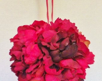 Peony Pomander in Rich Reds Hanging from a Sheer Deep-Red Ribbon
