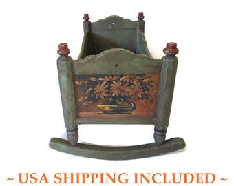 Vintage 21 Inch Wooden Cradle Hand Made, Hand Painted Folk Art