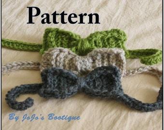 Baby Boy Tie PATTERN -PDF Bow Tie PATTERN - Baby Neck Tie - Baby Bow Tie Crochet Pattern - Crochet Bow Tie Pattern - by JoJosBootique