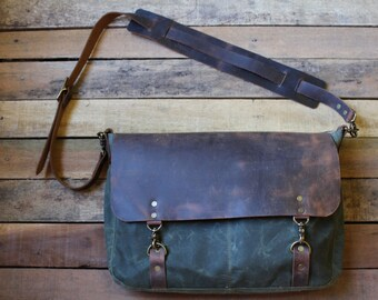 Leather Messenger Bag, Canvas Messenger Bag, Waxed Canvas Messenger bag, Handmade bag, handbag, free shipping, Messenger bag, crossbody bag