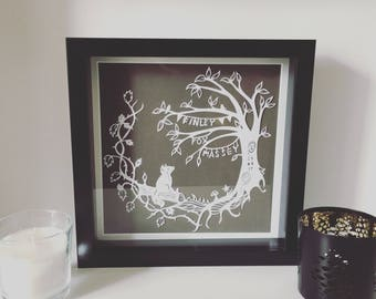 A quiet little sit in the woods - Personalised Papercut Paper/Card