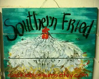 """16""""  X 21""""  #650 Big Fluffy Setting Hen sign hand painted original art on Rustic Wood Hen Chicken Southern Fried"""