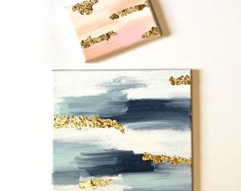 Acrylic & Goldleaf Painting / Custom Painting / Custom Artwork / Abstract Painting / 5x7 / 12x12 / Minimal Artwork / Gold Painting