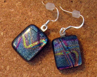 Dichroic Earrings - Fused Glass Earrings - Purple Dichroic Earrings - Dichroic Jewelry - Glass Earrings - Fused Glass Jewelry