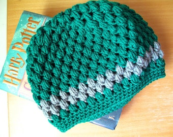 Slytherin House Pride Vintage Style Crocheted Hat (one size fits most)