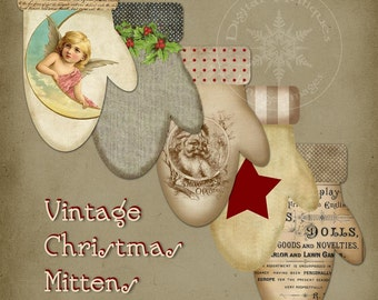 Vintage Christmas Mittens Tags Sepia Printable Digital Download
