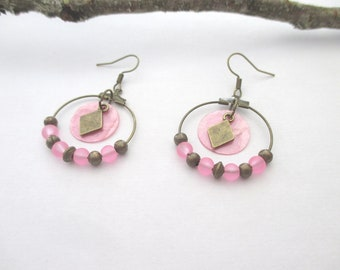 Pink bow with sequin Pearl and bronze hoop earrings
