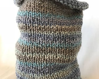 Multi-Color Landscape Blue Knit Cowl